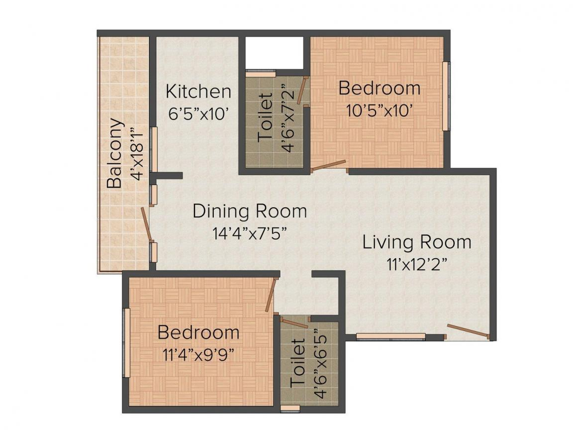 Floor Plan Image of 980.0 - 1403.0 Sq.ft 2 BHK Apartment for buy in Sai Sumukha Nest