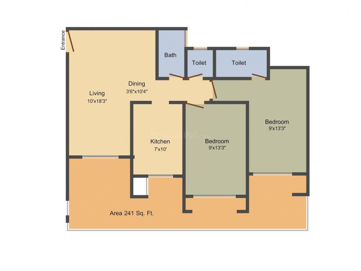 Floor Plan Image of 620.0 - 702.0 Sq.ft 2 BHK Apartment for buy in Bafna Tulif