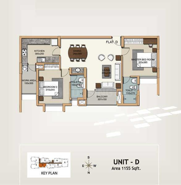 Hilite Corinth Floor Plan: 2 BHK Unit with Built up area of 1155 sq.ft 1
