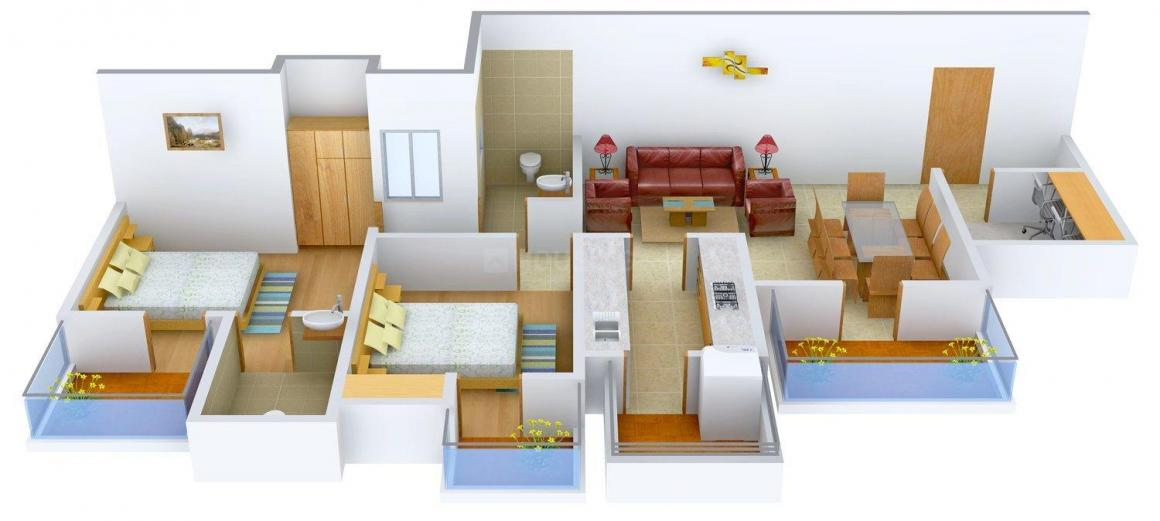 Divine Presidia Heights Floor Plan: 2 BHK Unit with Built up area of 1491 sq.ft 1
