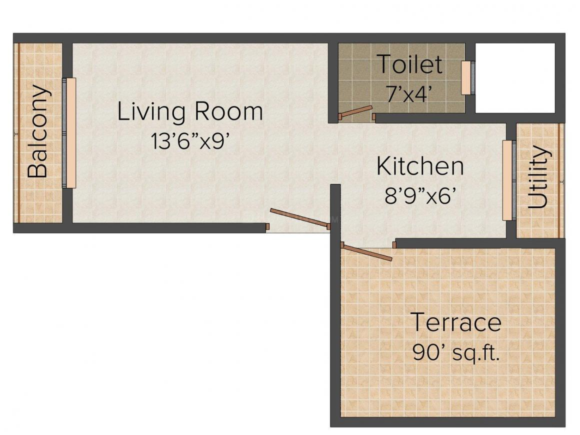 Floor Plan Image of 300.0 - 550.0 Sq.ft 1 RK Apartment for buy in Sai Mittal