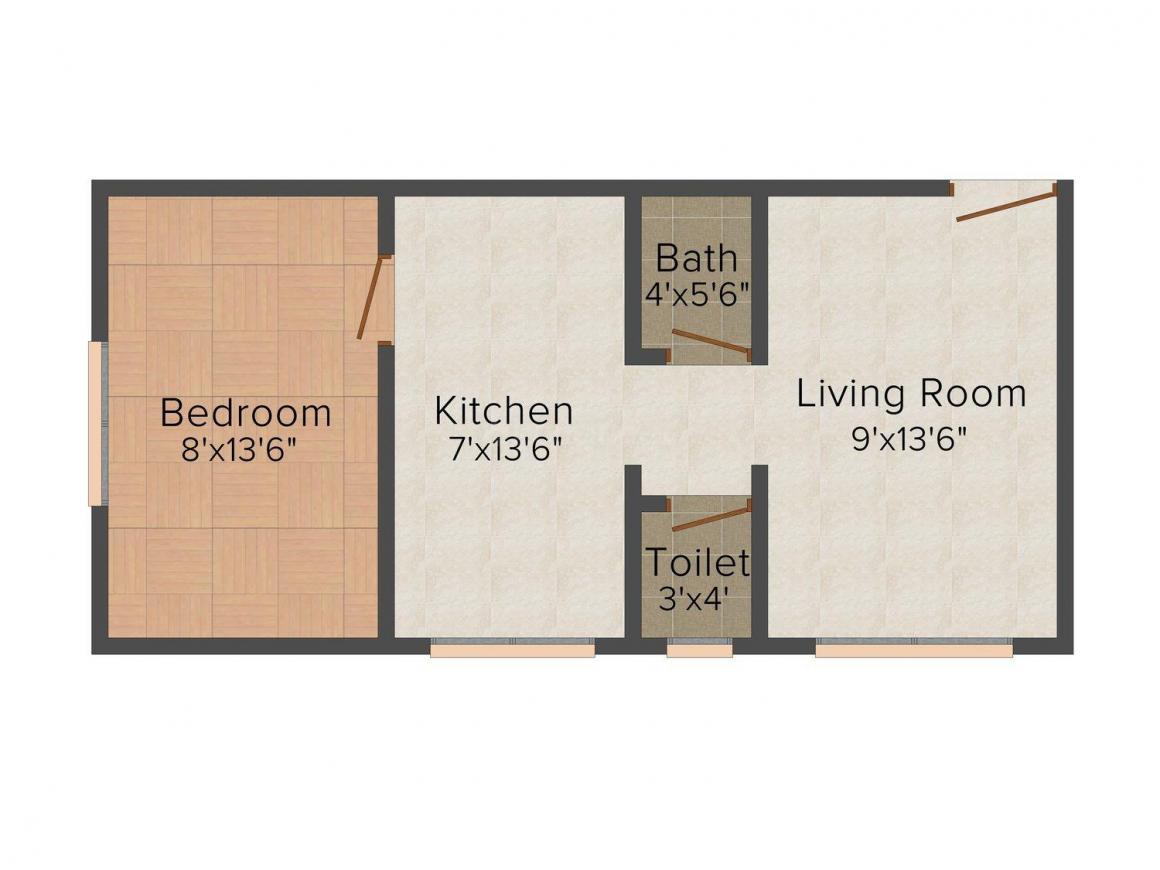 Jagdamba Santoshi Mata Apartment Floor Plan: 1 BHK Unit with Built up area of 550 sq.ft 1
