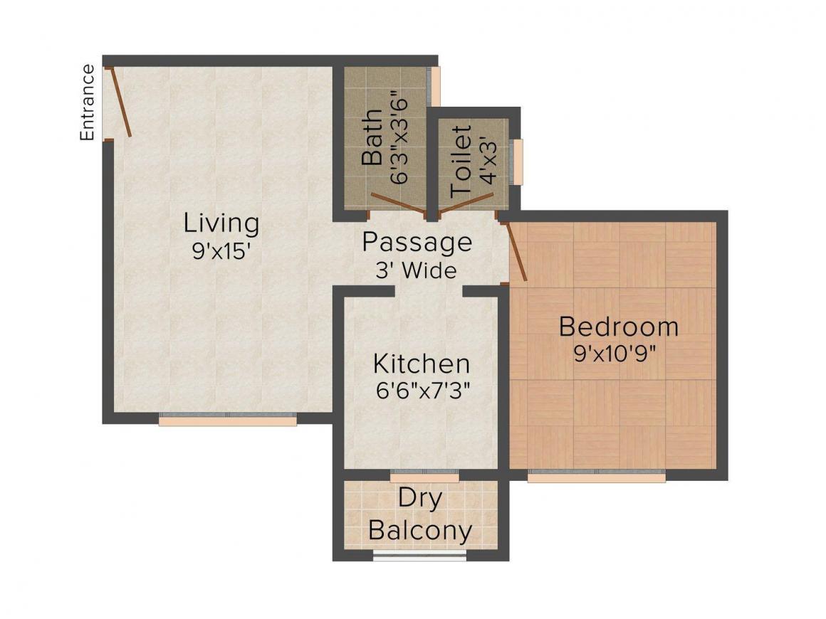 Floor Plan Image of 0 - 655 Sq.ft 1 BHK Apartment for buy in Rajesh Mahavir Kunj