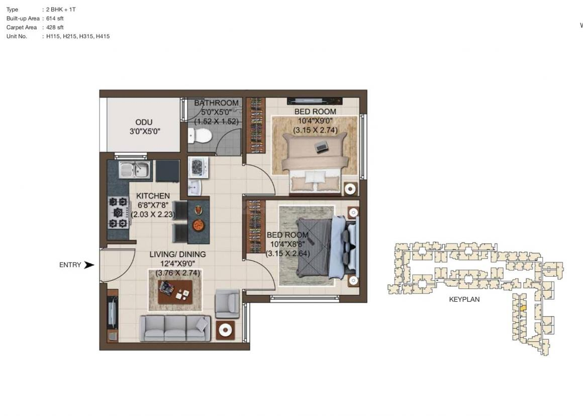 Casagrand Asta 1 Floor Plan: 2 BHK Unit with Built up area of 614 sq.ft 1
