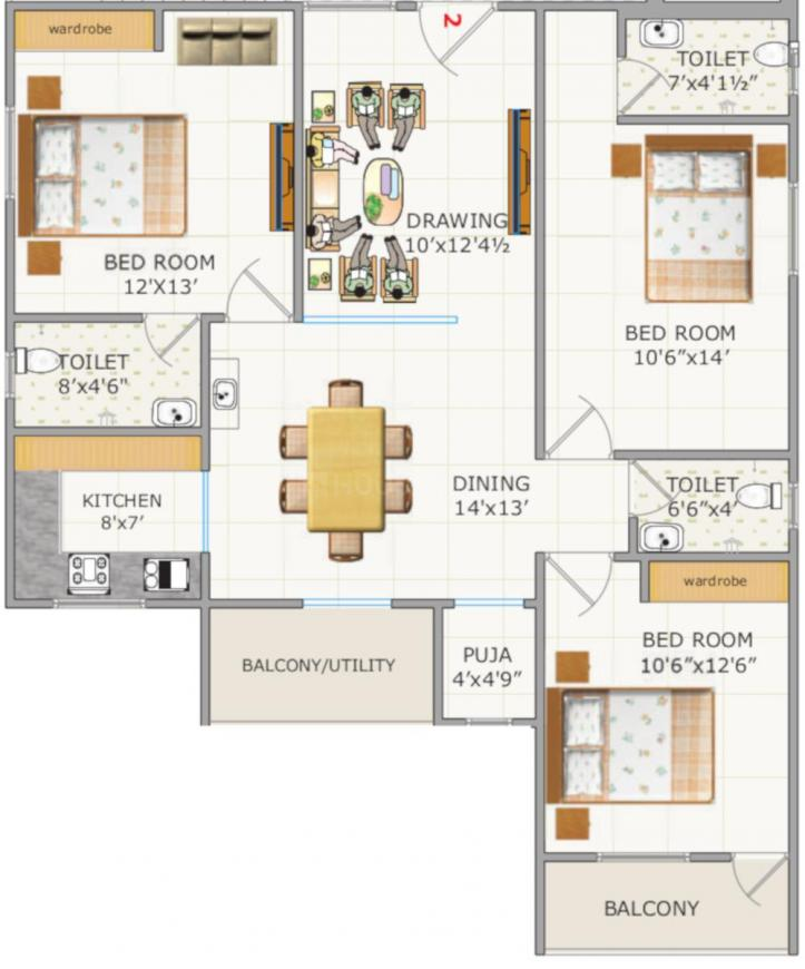 SS Navya Lotus Floor Plan: 3 BHK Unit with Built up area of 1476 sq.ft 1