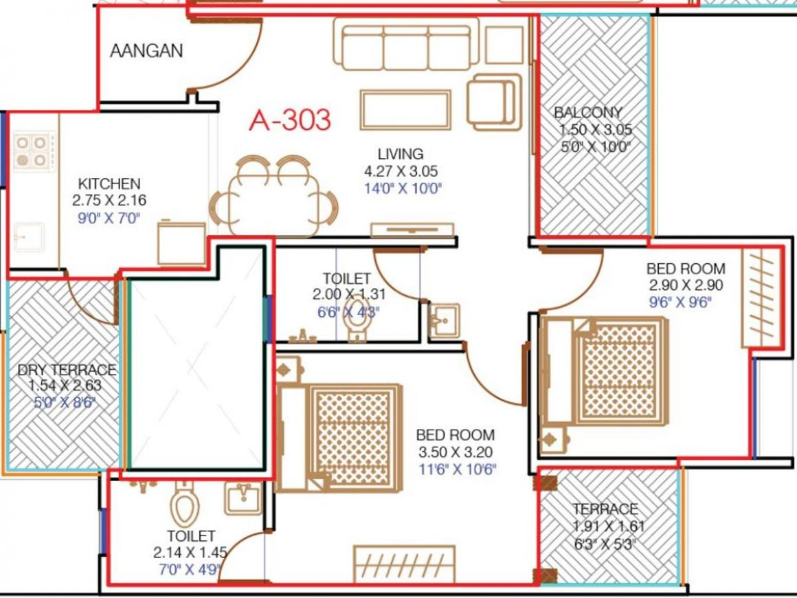 Yash Promoters and Builders Florencia Floor Plan: 2 BHK Unit with Built up area of 561 sq.ft 1