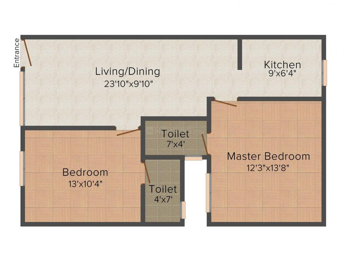 Floor Plan Image of 1000 - 1500 Sq.ft 2 BHK Apartment for buy in RS Happy Homes