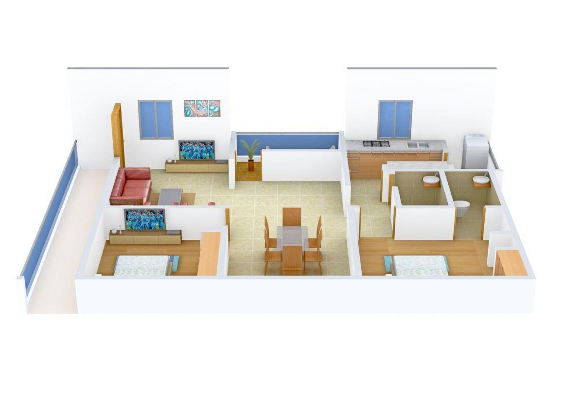 Floor Plan Image of 1110.0 - 1198.0 Sq.ft 2 BHK Apartment for buy in Comfort Platinum