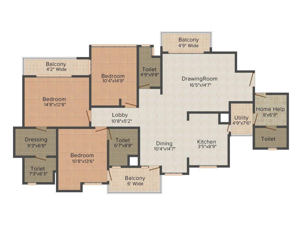 Floor Plan Image of 2345 - 2967 Sq.ft 3 BHK Apartment for buy in Tulsiani Golf View Apartment
