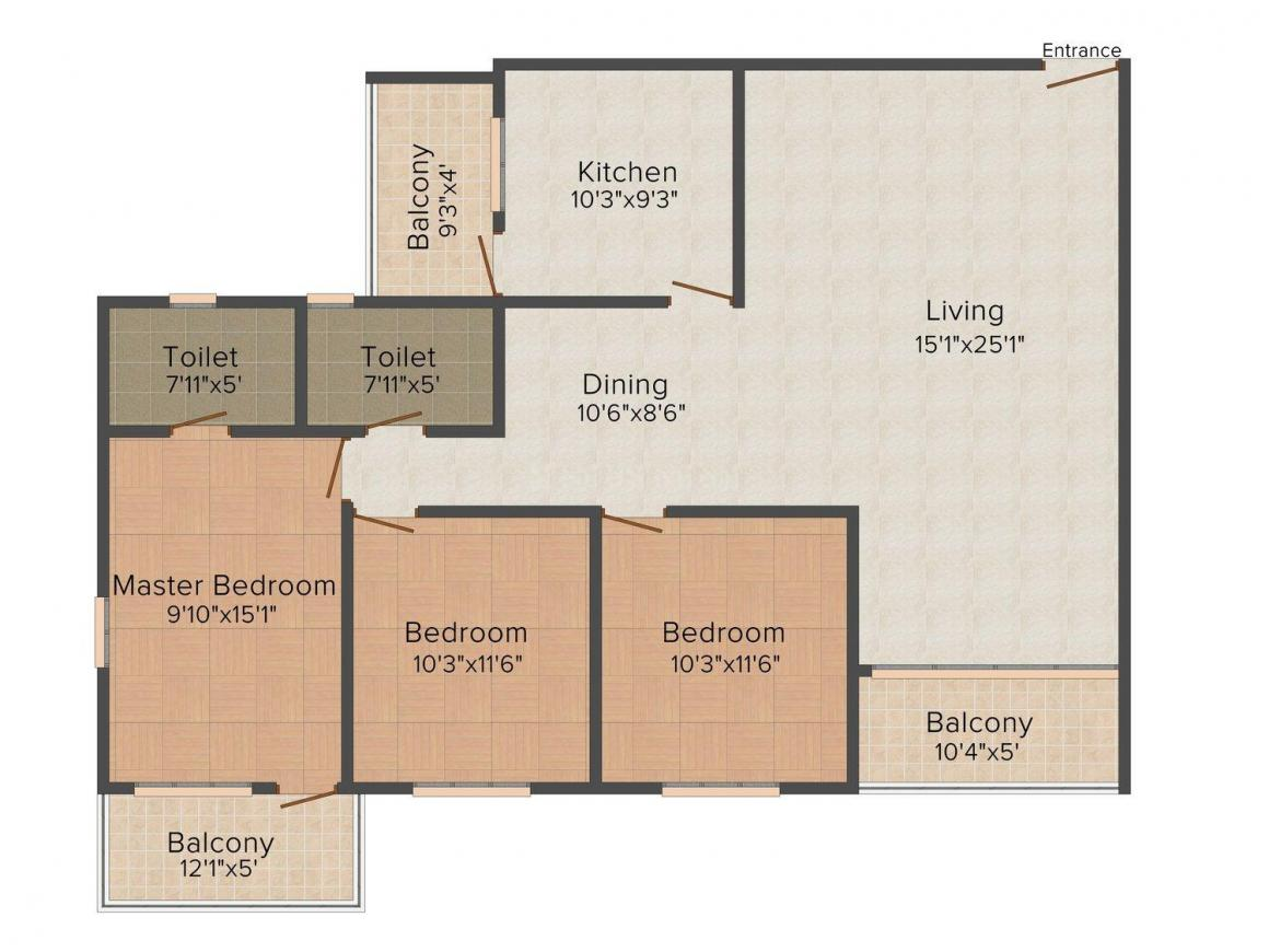 Floor Plan Image of 1400 - 1614 Sq.ft 2 BHK Apartment for buy in Supreme Colmorod County
