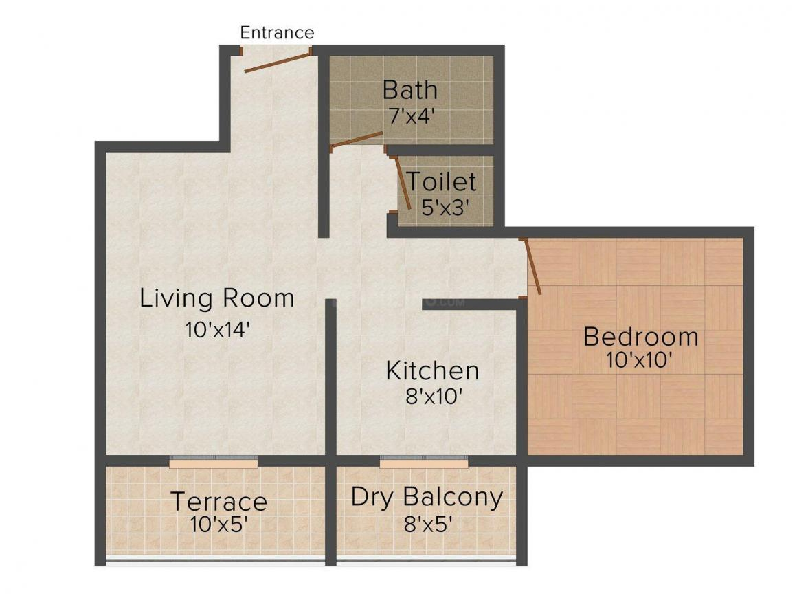 Floor Plan Image of 634.0 - 893.0 Sq.ft 1 BHK Apartment for buy in Satyam Florence