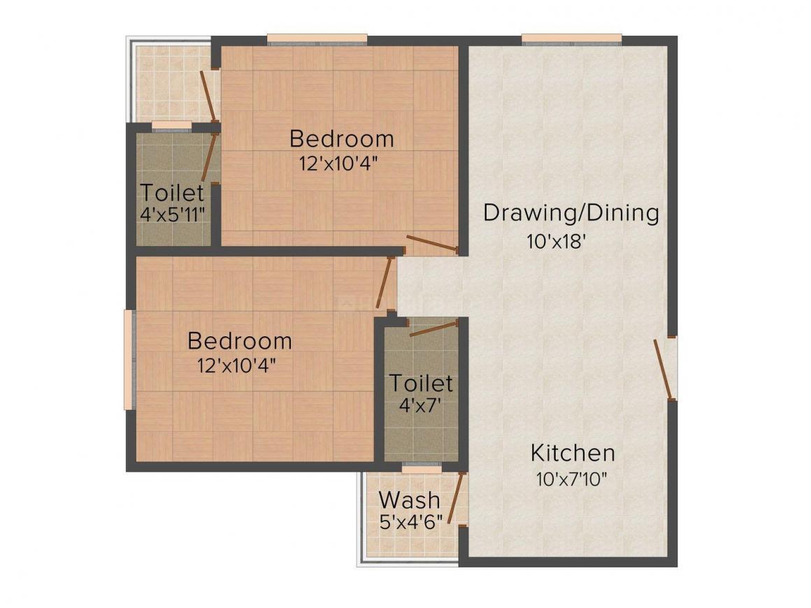 Floor Plan Image of 582 - 900 Sq.ft 1 BHK Apartment for buy in Vastu Siddhivinayak Apartment