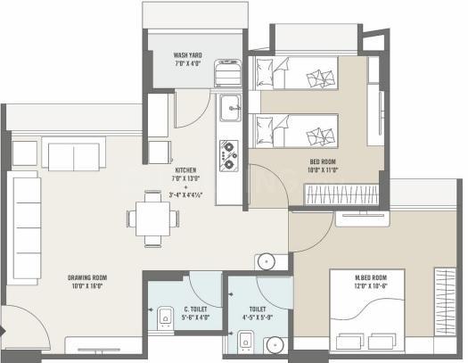 Maruti Arise Atlantis Floor Plan: 2 BHK Unit with Built up area of 521 sq.ft 1