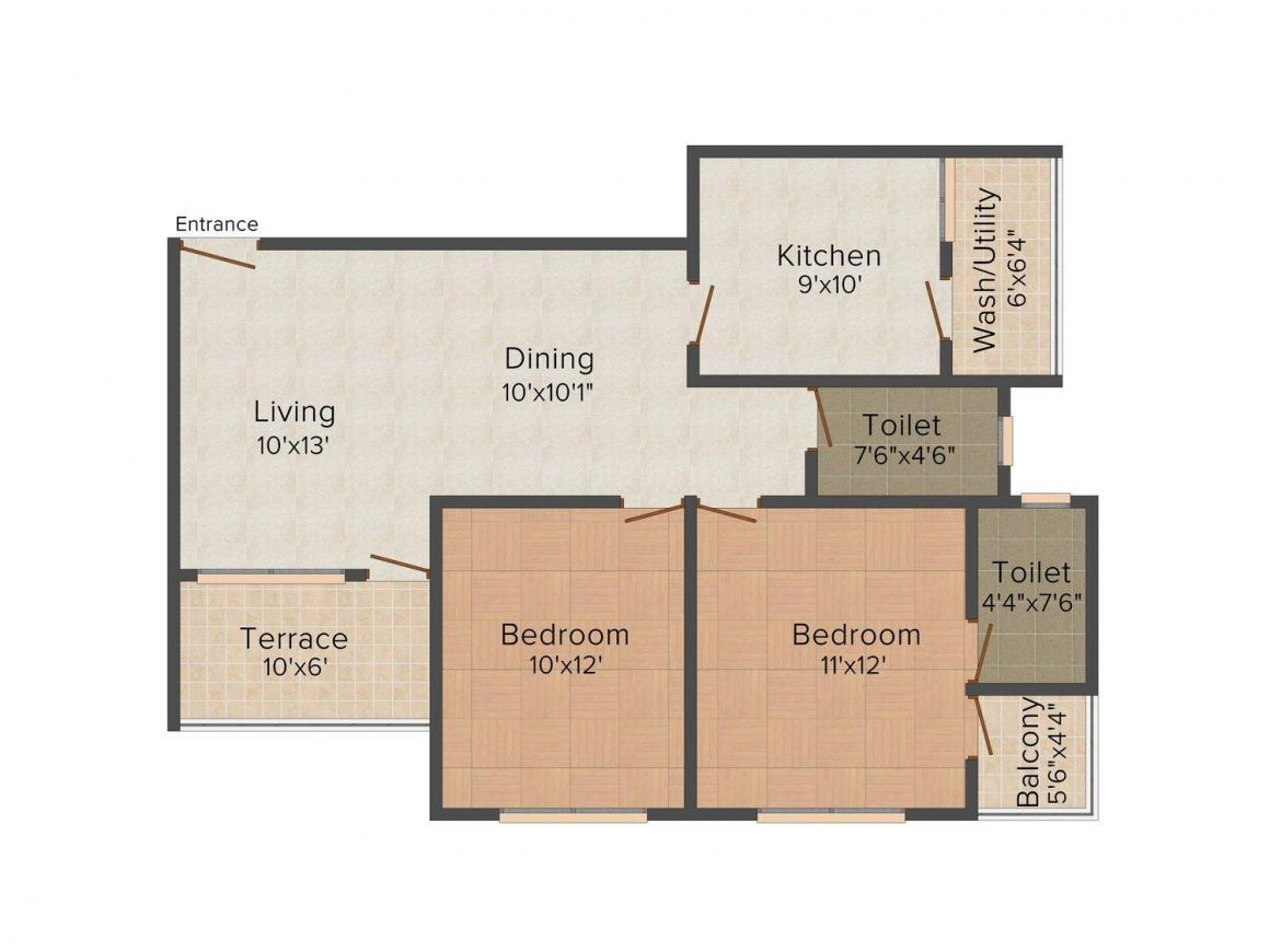 Brand Creations Celino Paradise Floor Plan: 2 BHK Unit with Built up area of 1045 sq.ft 1