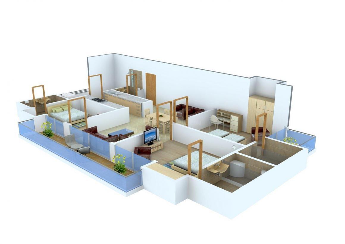 Sunshine Sunshine Helios Floor Plan: 3 BHK Unit with Built up area of 1575 sq.ft 1