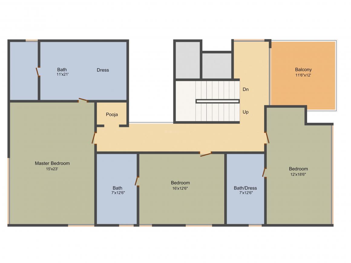 Jayabheri Temple Tree Floor Plan: 4 BHK Unit with Built up area of 5090 sq.ft 2