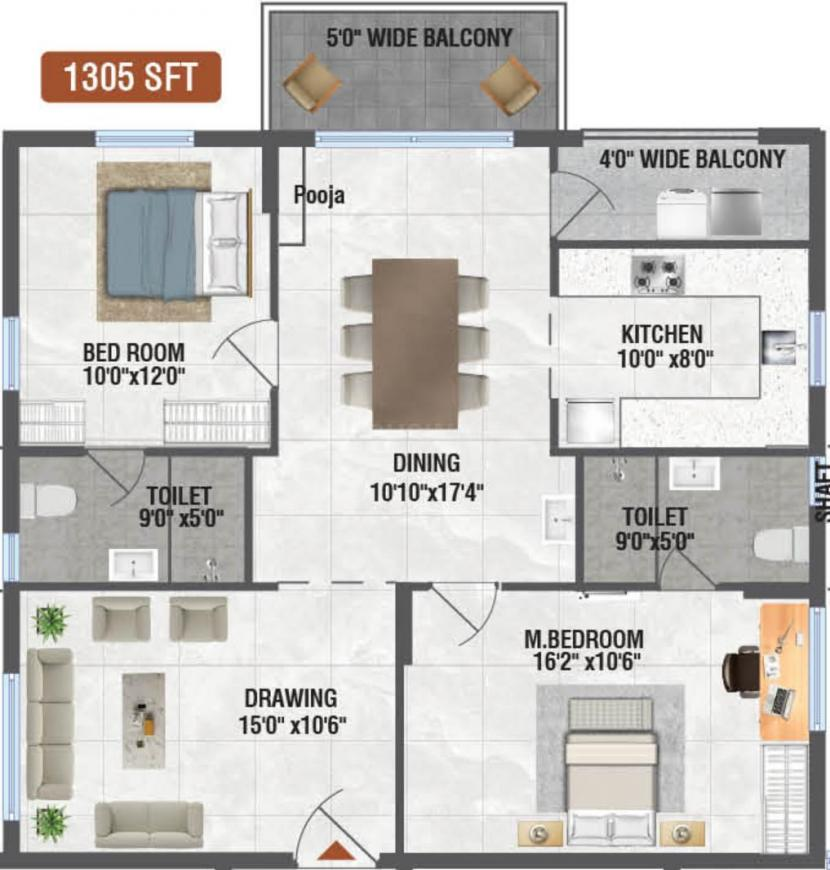 Gothic Pentagon Clouds Floor Plan: 2 BHK Unit with Built up area of 1305 sq.ft 1