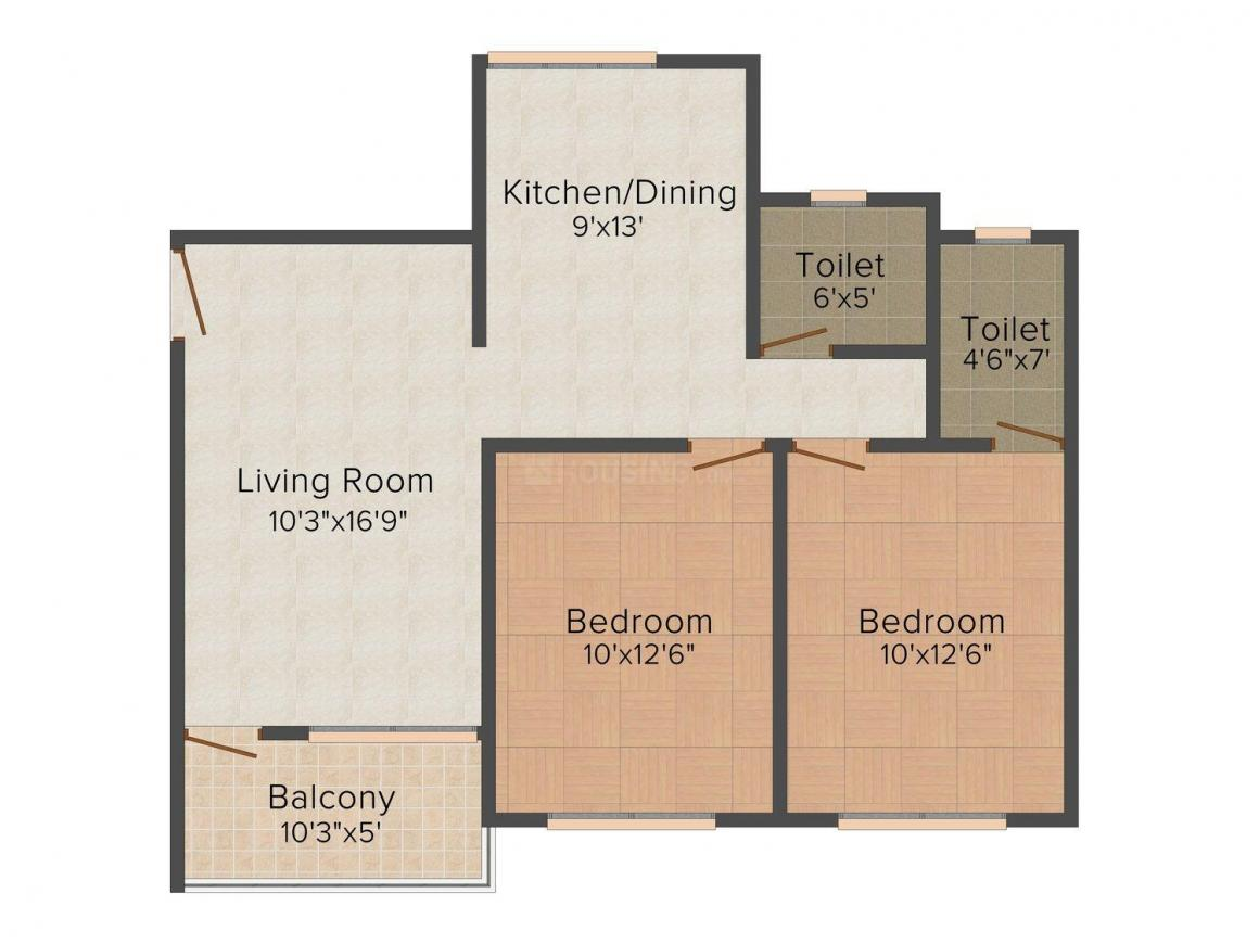 SR SSD Nagar Floor Plan: 2 BHK Unit with Built up area of 680 sq.ft 1