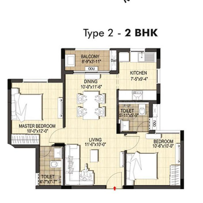 Merlin Belani Eternia Floor Plan: 2 BHK Unit with Built up area of 611 sq.ft 1