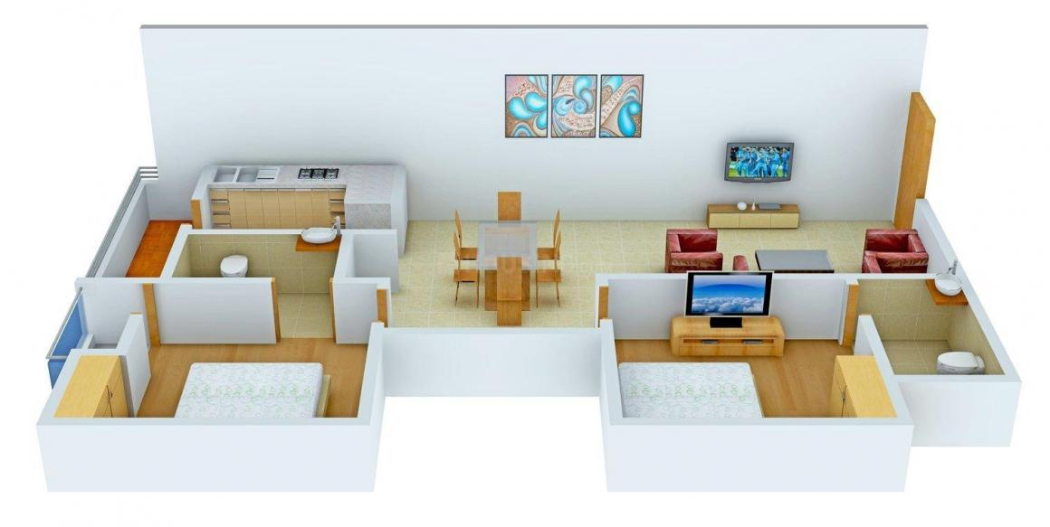 Sreemali Propelsive Pride Floor Plan: 2 BHK Unit with Built up area of 1000 sq.ft 1
