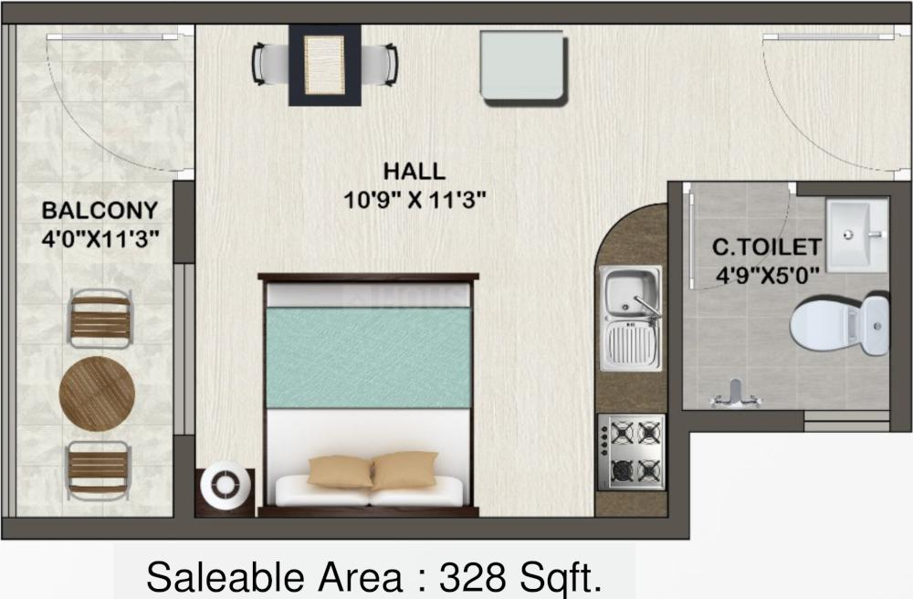 Sowparnika Indraprastha Floor Plan: 1 BHK Unit with Built up area of 328 sq.ft 1