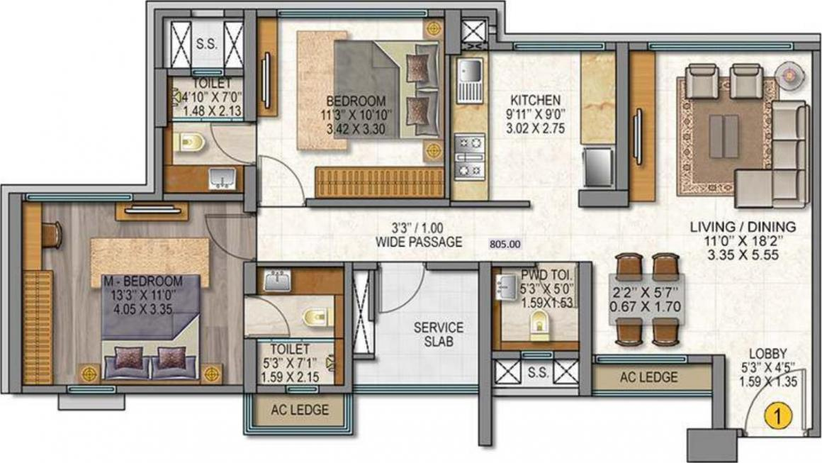 Sheth Auris Serenity Tower 1 Floor Plan: 2 BHK Unit with Built up area of 805 sq.ft 1