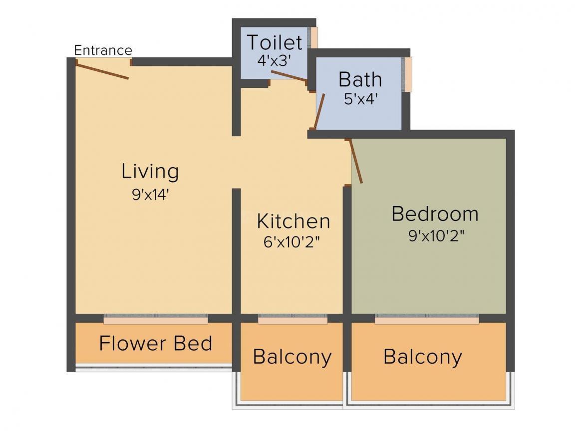 Floor Plan Image of 630 - 1040 Sq.ft 1 BHK Apartment for buy in Raj Keshav Kunj