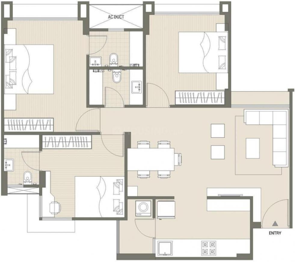 Shivalik Sharda Park View Floor Plan: 3 BHK Unit with Built up area of 810 sq.ft 1