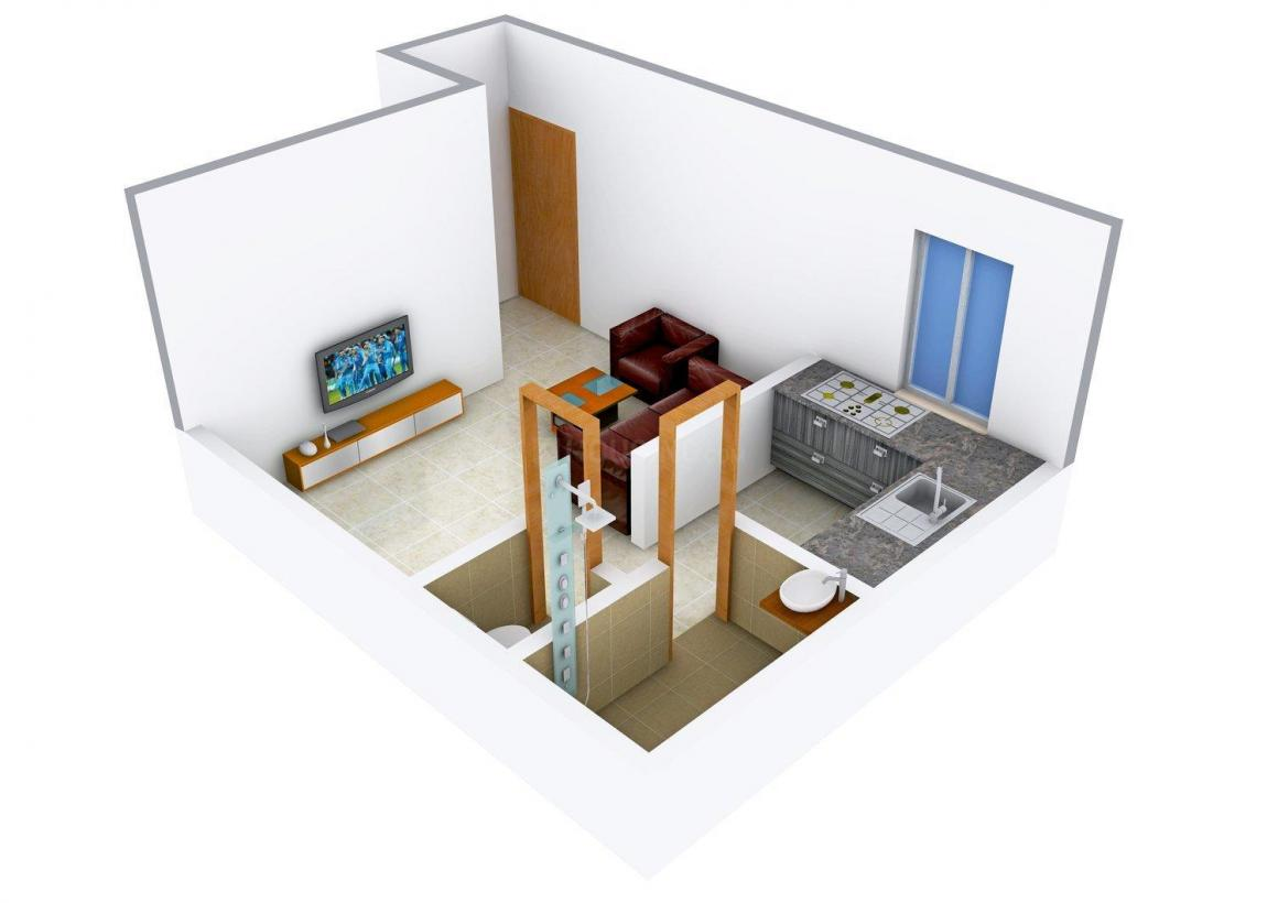 Floor Plan Image of 390.0 - 950.0 Sq.ft 1 RK Apartment for buy in Shree Balaji Anmol Residency