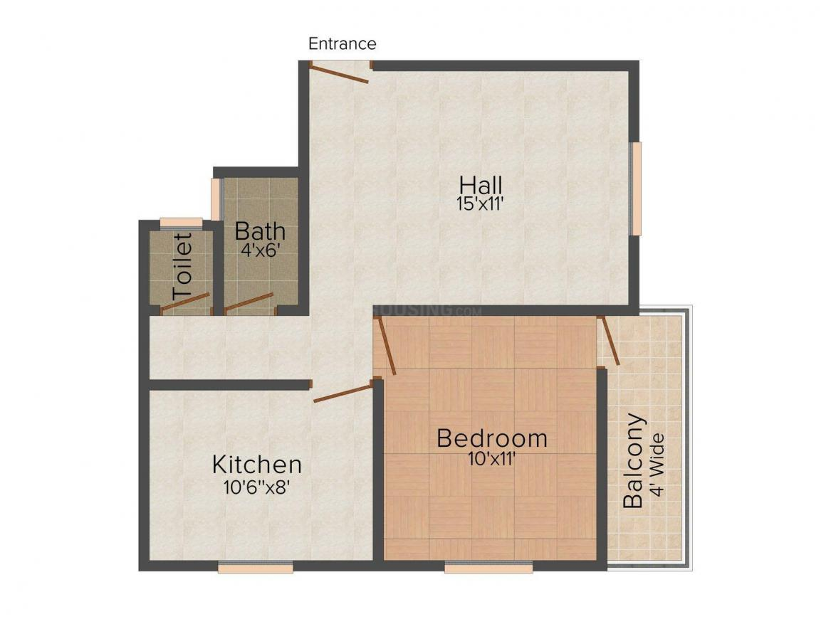 Floor Plan Image of 625.0 - 785.0 Sq.ft 1 BHK Apartment for buy in Umang Rath