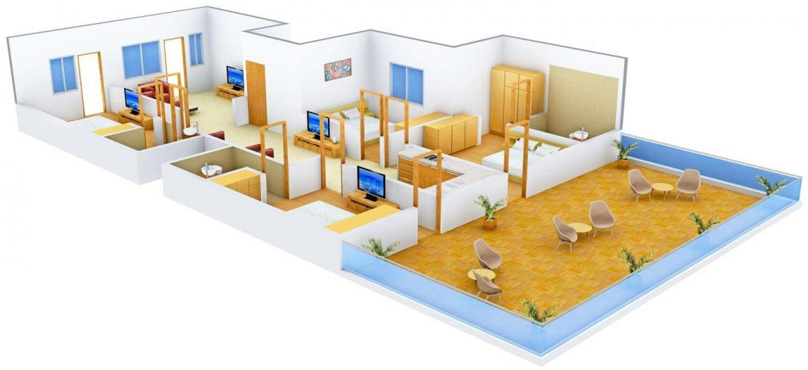 B and G Floors 2 Floor Plan: 4 BHK Unit with Built up area of 2200 sq.ft 1