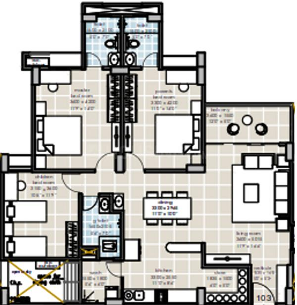 Myco Akira Heights Floor Plan: 3 BHK Unit with Built up area of 1890 sq.ft 1