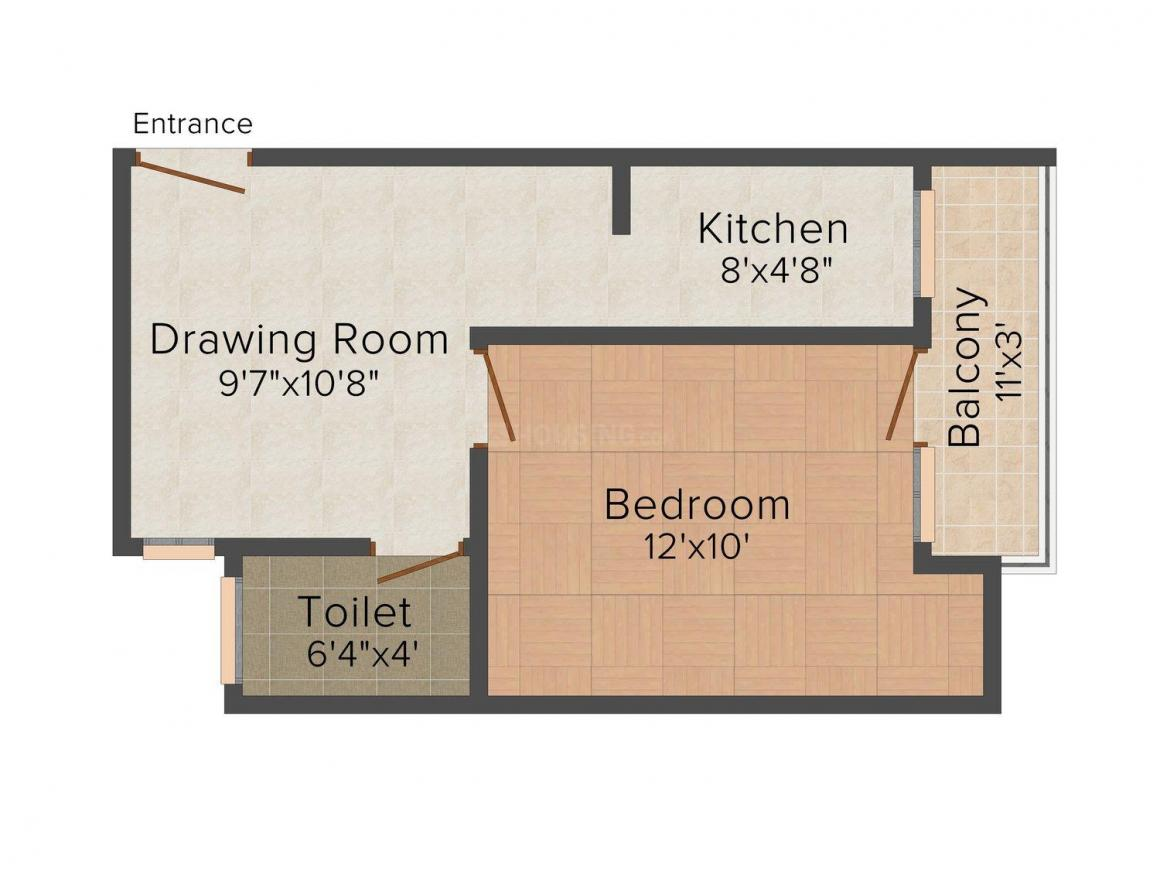 UA Residency Floor Plan: 1 BHK Unit with Built up area of 470 sq.ft 1