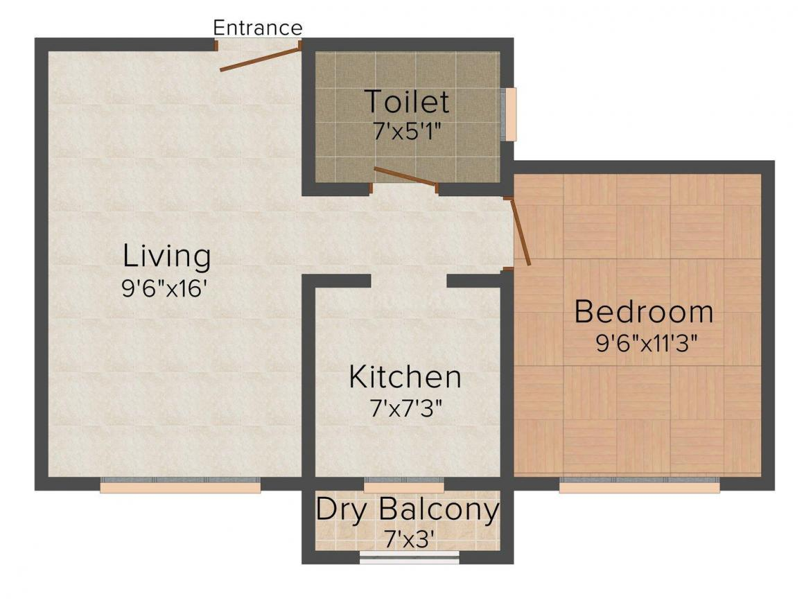 Floor Plan Image of 555 - 1000 Sq.ft 1 BHK Apartment for buy in Rajesh Mahavir Kshitij