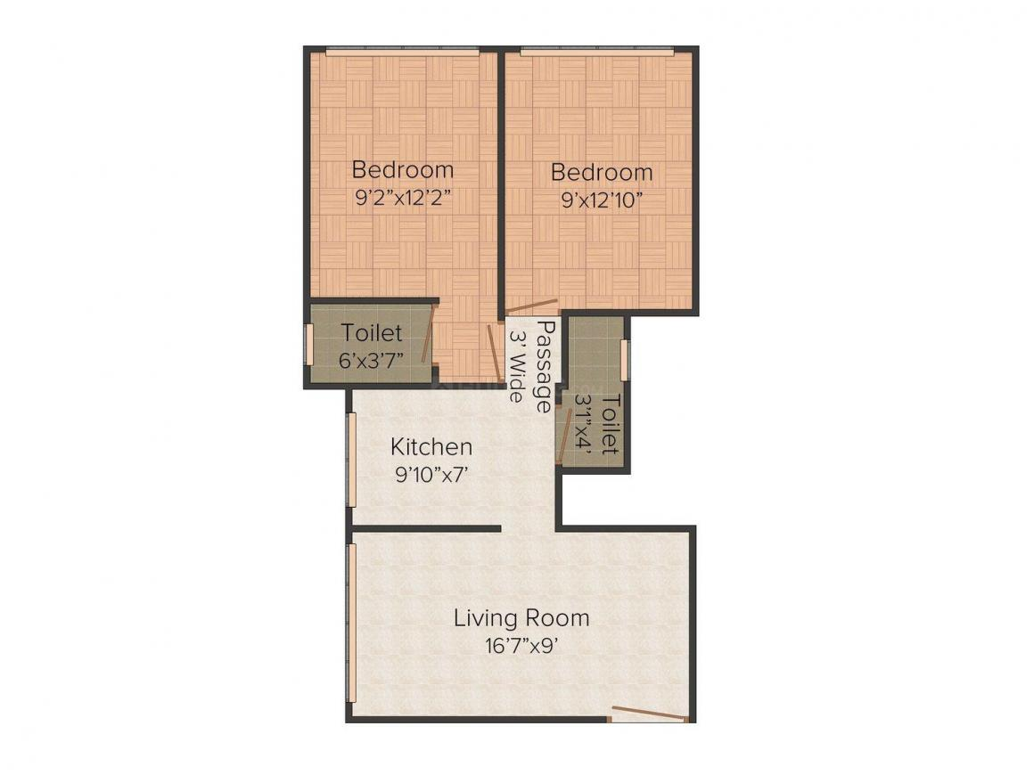 Floor Plan Image of 0 - 516 Sq.ft 2 BHK Apartment for buy in Aditya Siddarth CHS