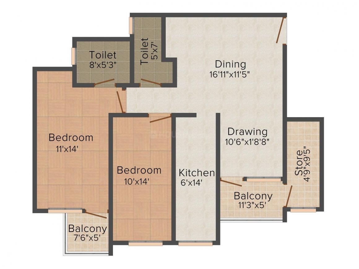 Floor Plan Image of 0 - 950 Sq.ft 2 BHK Apartment for buy in Preeyadarshani Sangam Vihar