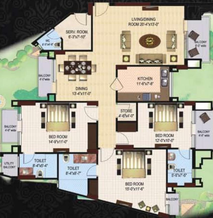 Shalimar Grand Residences Floor Plan: 3 BHK Unit with Built up area of 1900 sq.ft 1