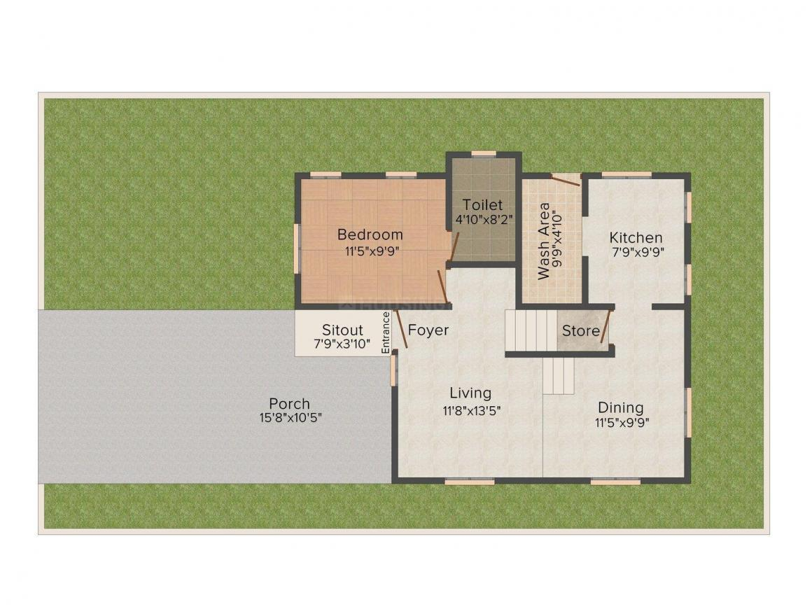Classic Tropicana Hills Floor Plan: 3 BHK Unit with Built up area of 1449 sq.ft 1