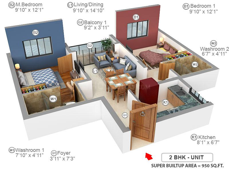 Fomra Hues Floor Plan: 2 BHK Unit with Built up area of 950 sq.ft 1