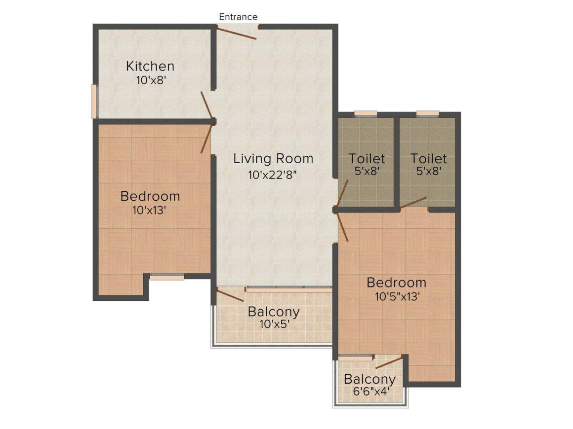 Floor Plan Image of 1070 - 1533 Sq.ft 2 BHK Apartment for buy in Joy