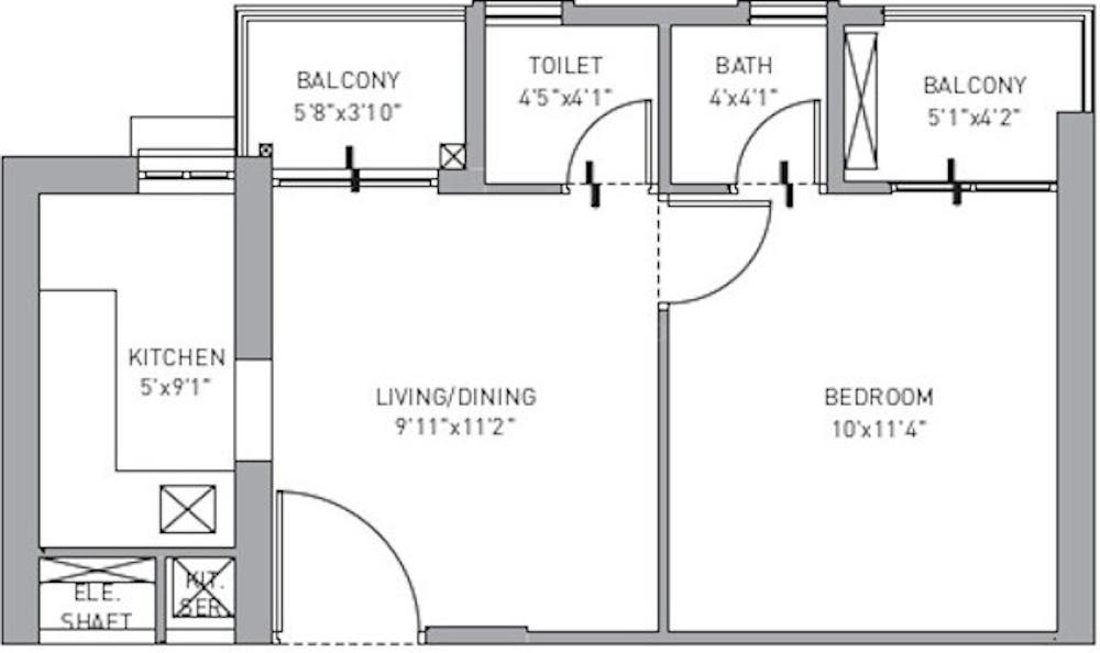 New Kolkata Sangam Floor Plan: 1 BHK Unit with Built up area of 320 sq.ft 1