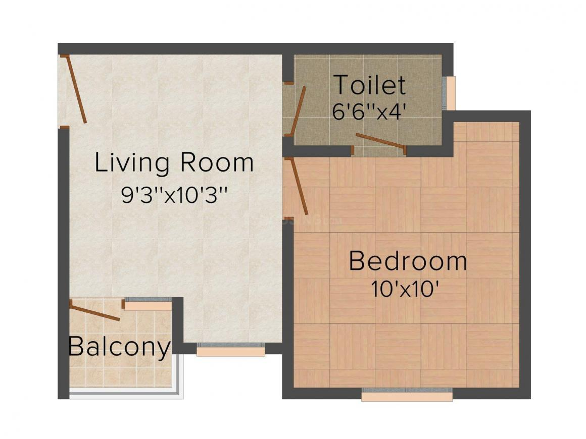 CRC Shubham Floor Plan: 1 BHK Unit with Built up area of 320 sq.ft 1