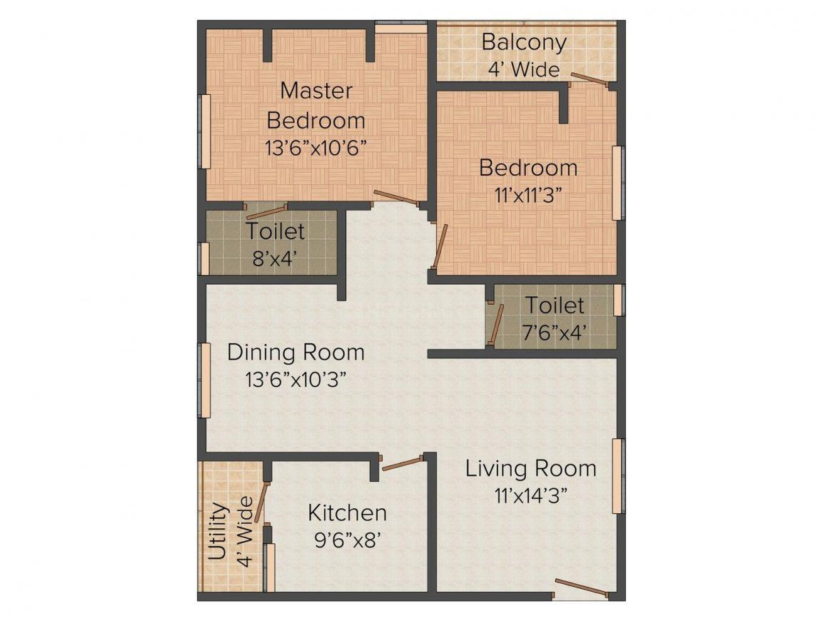 Floor Plan Image of 0 - 1140.0 Sq.ft 2 BHK Apartment for buy in Siri Homes