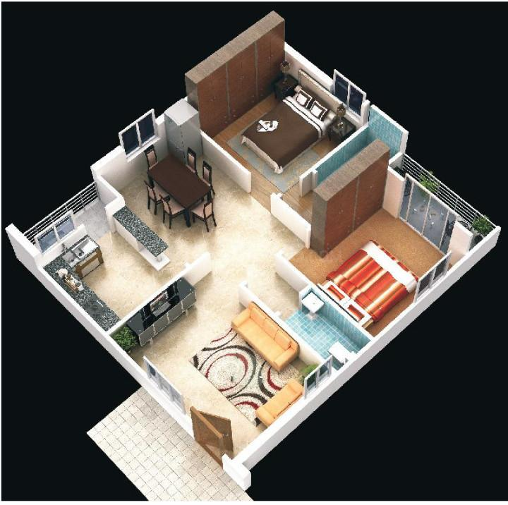 Infocity Excellence And Elegance Floor Plan: 2 BHK Unit with Built up area of 1210 sq.ft 1
