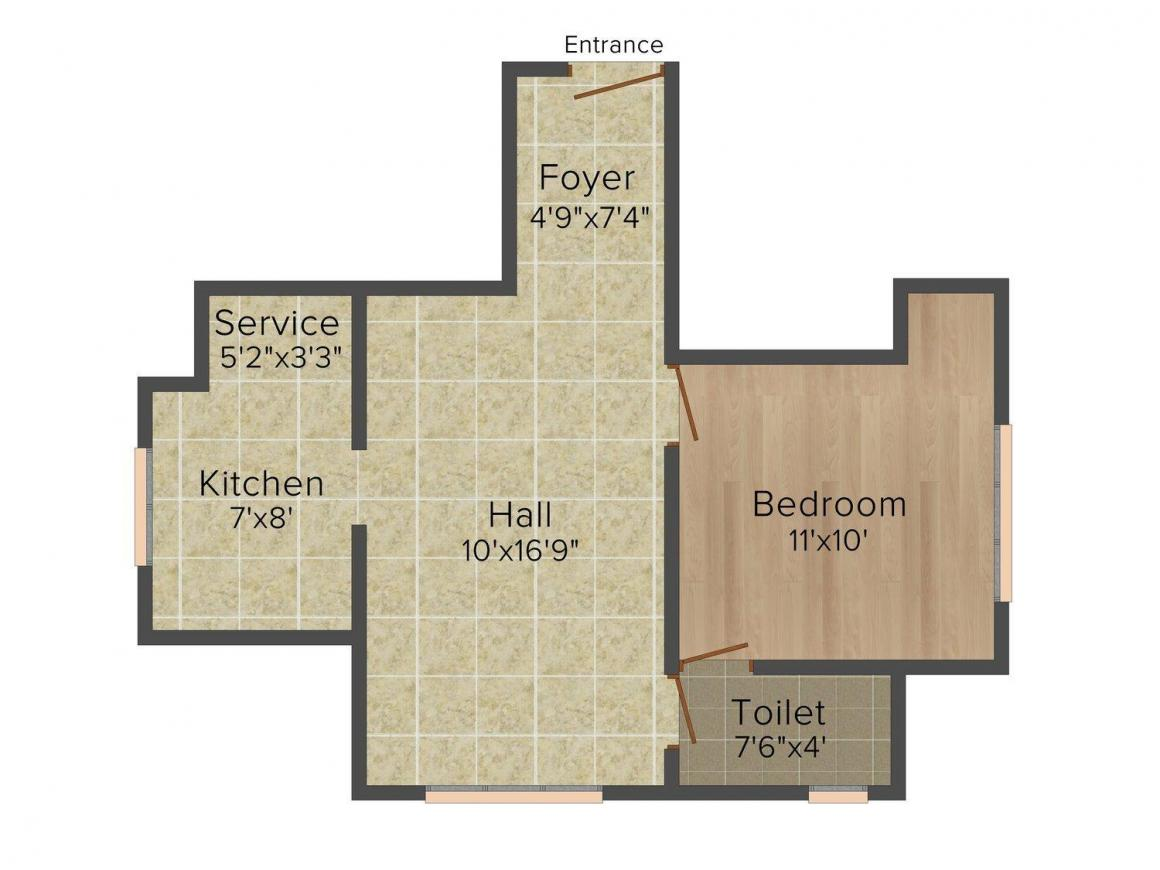 Adarsh Palm Riviera Floor Plan: 1 BHK Unit with Built up area of 621 sq.ft 1