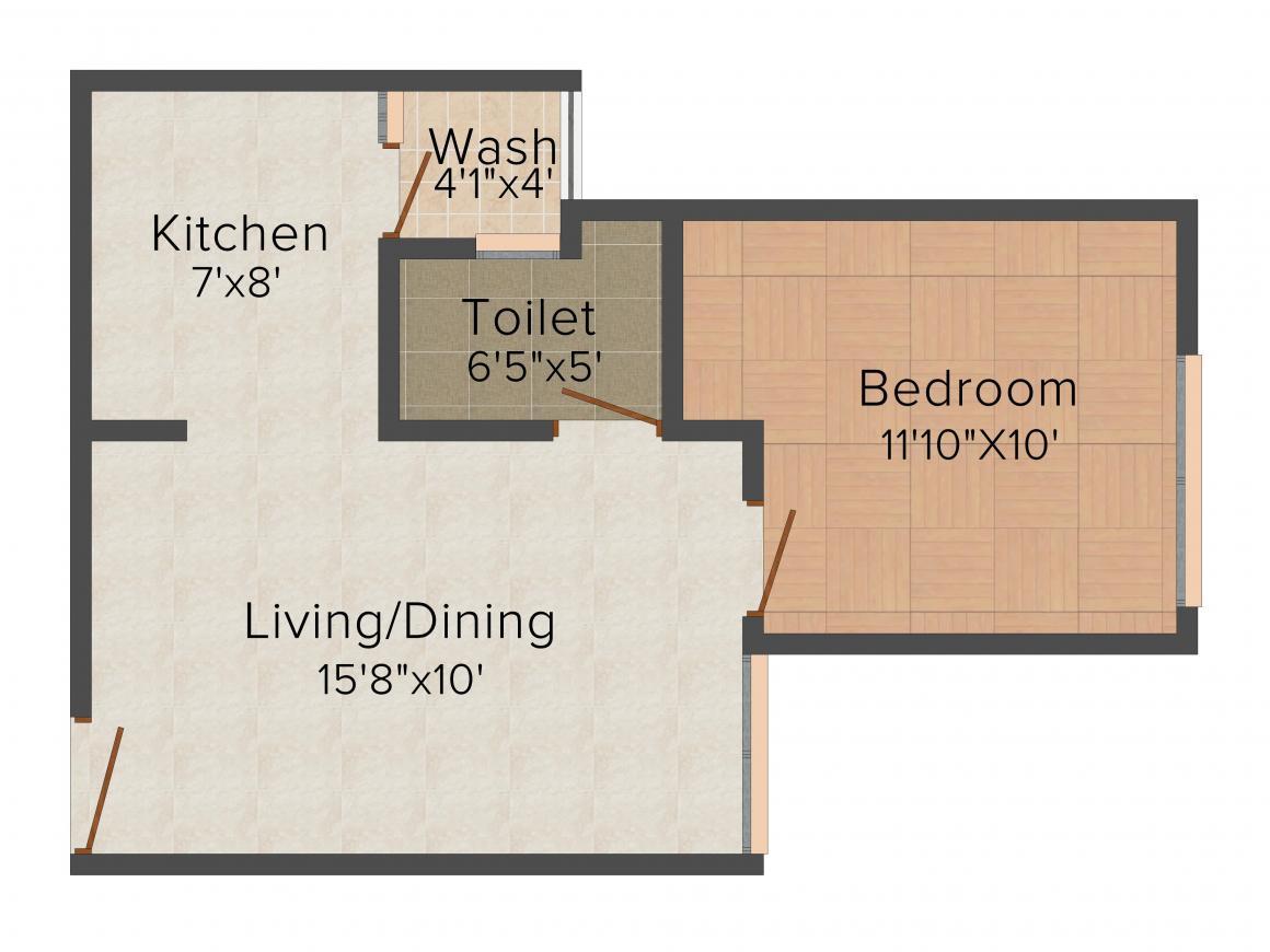 Floor Plan Image of 639 - 918 Sq.ft 1 BHK Apartment for buy in Satyam Sarjan