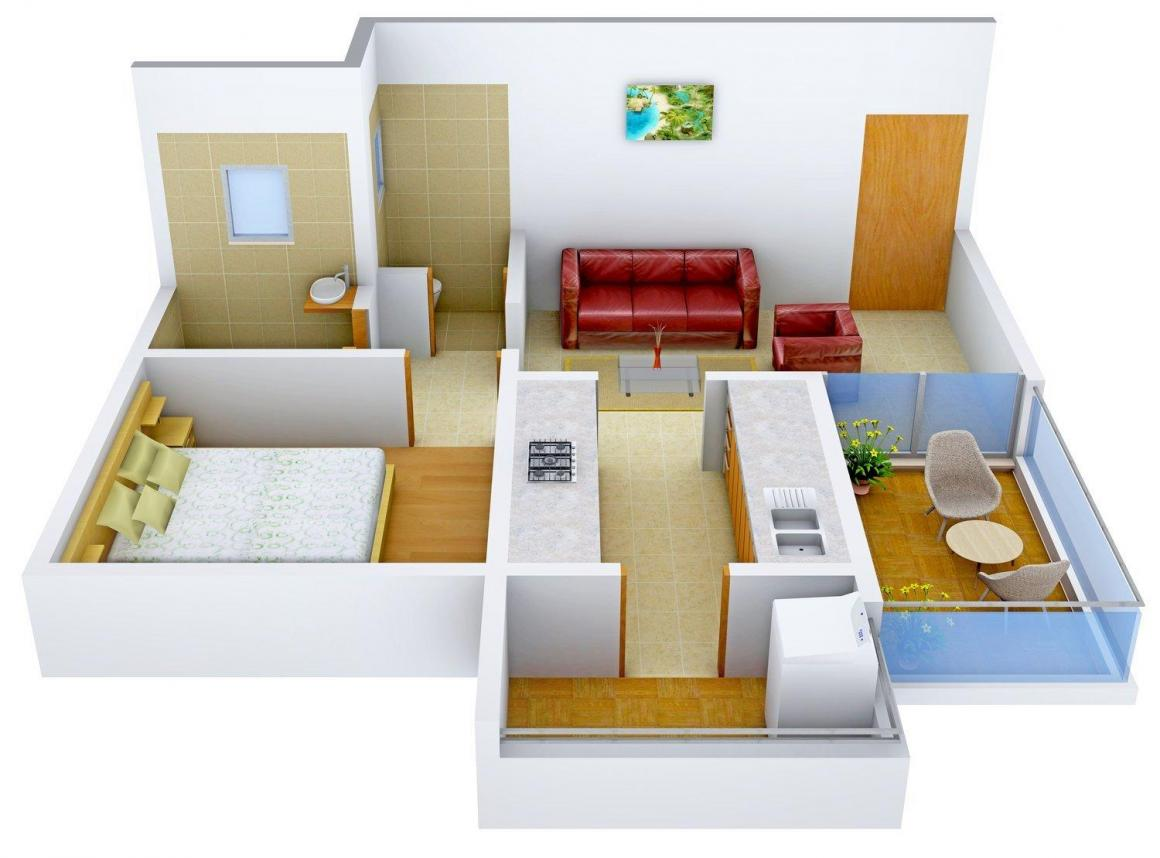 Floor Plan Image of 0 - 600 Sq.ft 1 BHK Apartment for buy in J.K Global Apartment