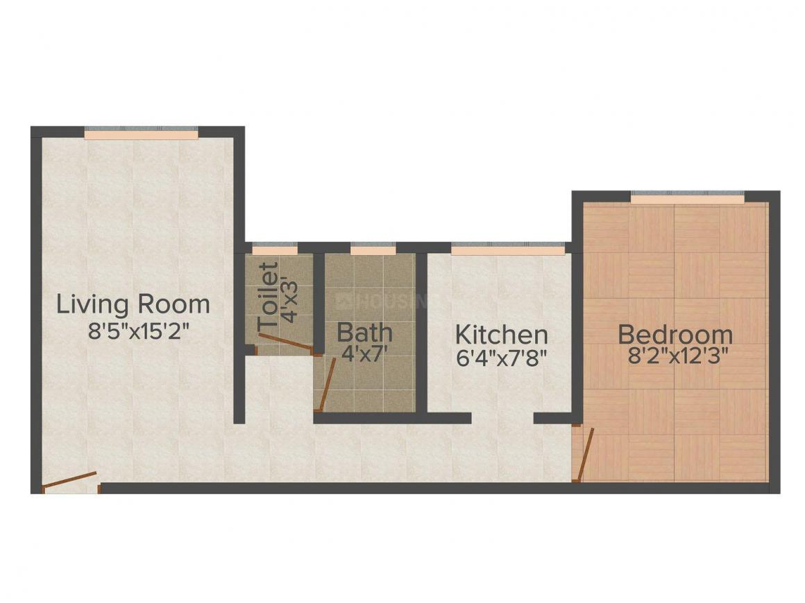 Floor Plan Image of 626 - 635 Sq.ft 1 BHK Apartment for buy in Sun Rise Hills