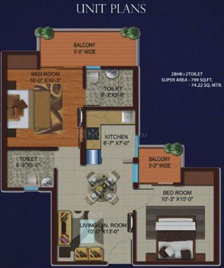 Migsun Kiaan Floor Plan: 2 BHK Unit with Built up area of 799 sq.ft 2