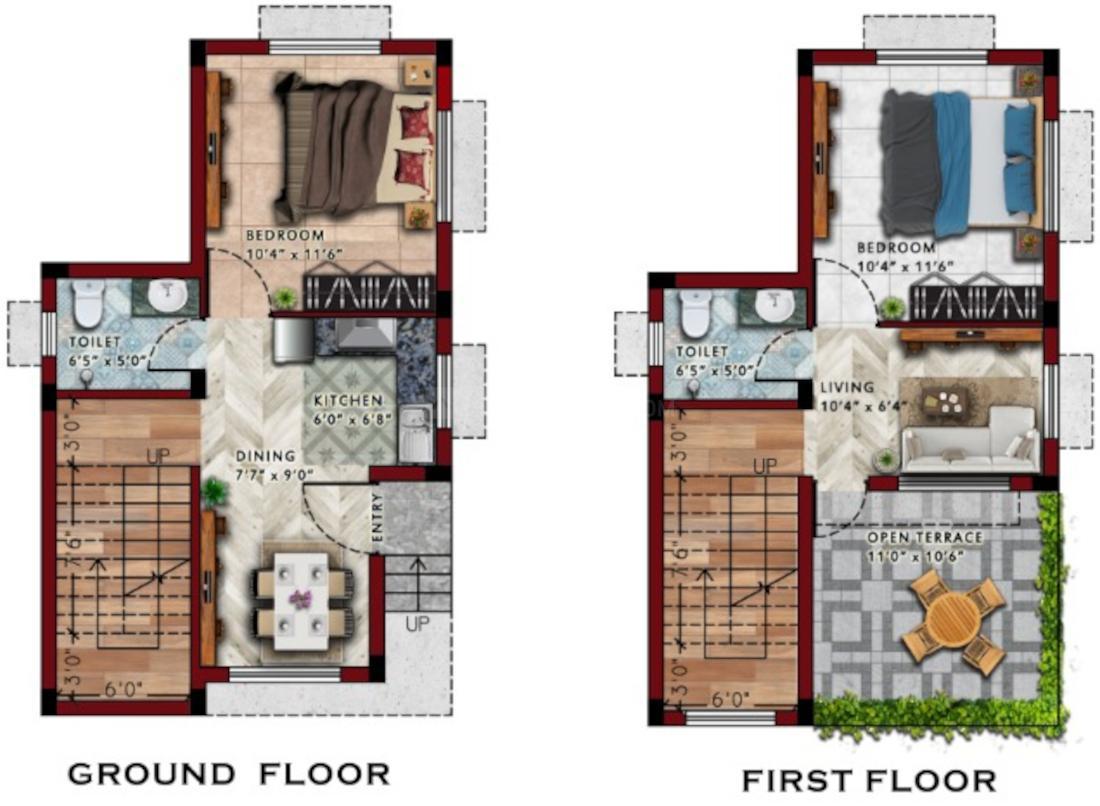 Rasapunja Abasan Villa Floor Plan: 2 BHK Unit with Built up area of 700 sq.ft 1